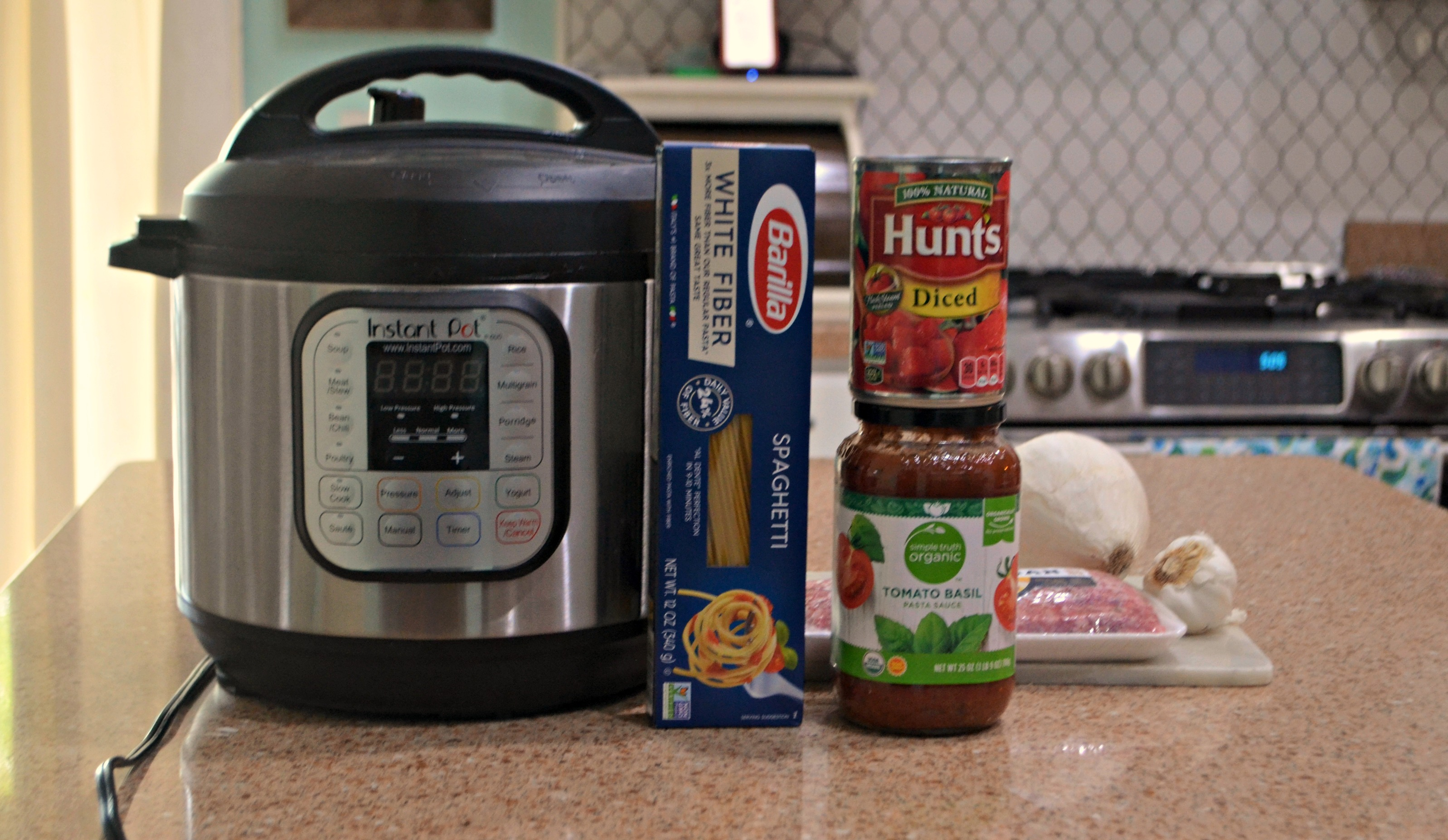 Instant Pot Spaghetti with Meat Sauce - Ingredients on the counter