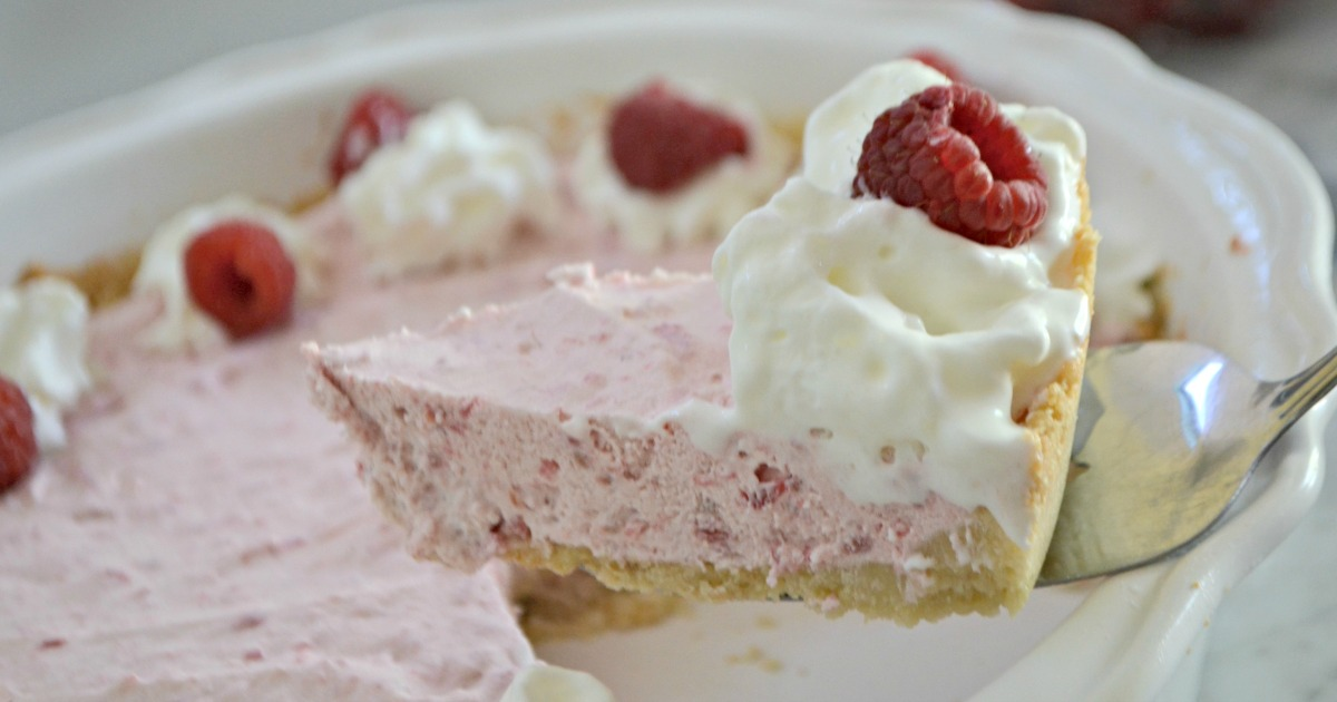 Hip2Save raspberry pie recipe - up close image of a slice of pie
