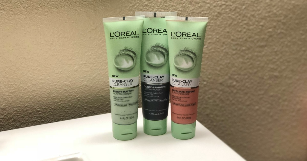 L'oreal clay cleanser review - Closeup of the tubes standing up