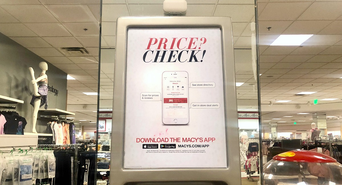 macy's shopping tips to save you money — price check signage about using the Macy's app
