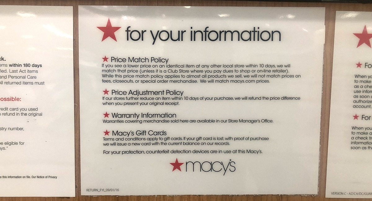 macy's shopping tips to save you money — price adjustment information signage