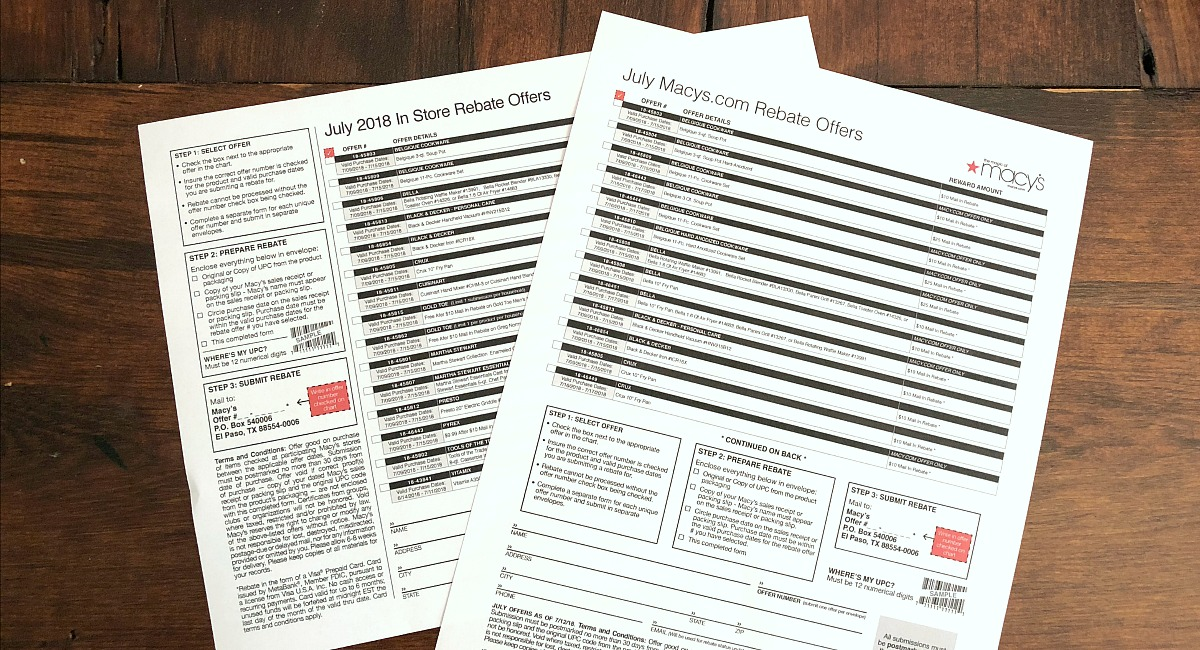 macy's shopping tips to save you money — july rebate offers printouts