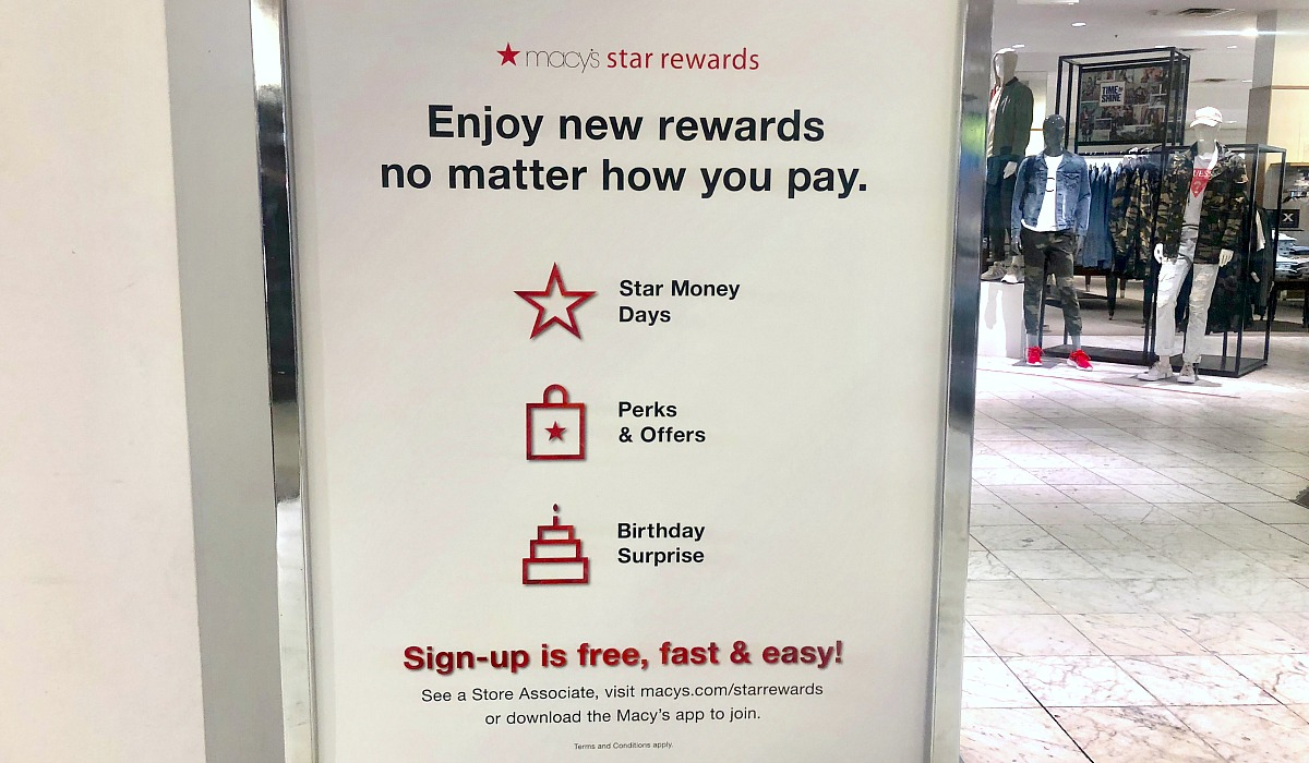 macy's shopping tips to save you money — star rewards signage