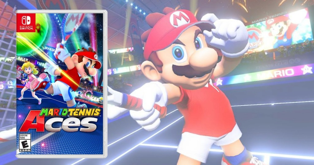 mario tennis aces game play screen grab and game cover