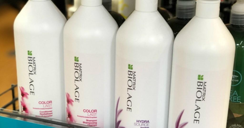Matrix shampoo bottles in a row