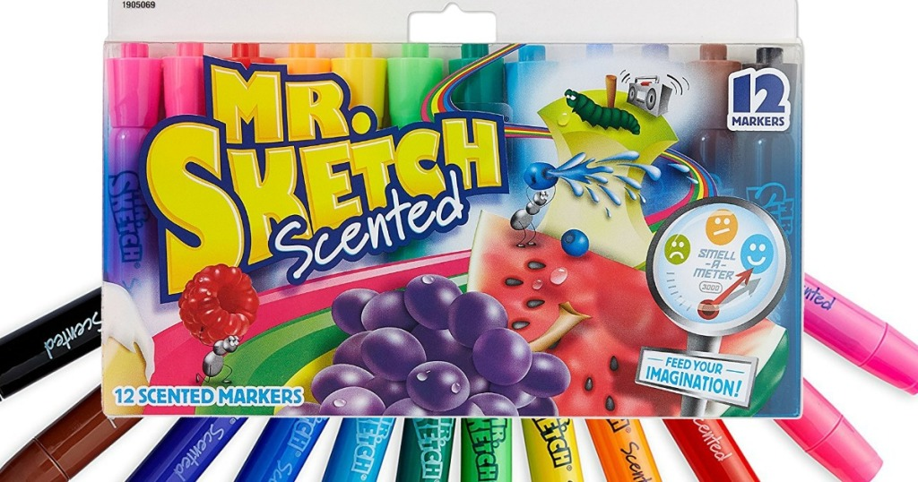 mr sketch markers 12 pack on top of markers fanned out