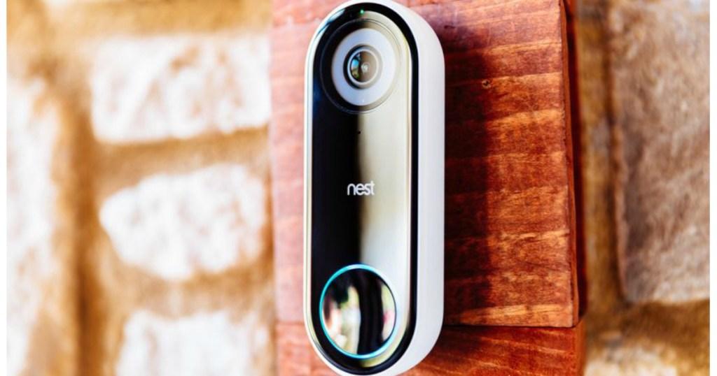 Nest Hello Video Doorbell shown on brick doorway