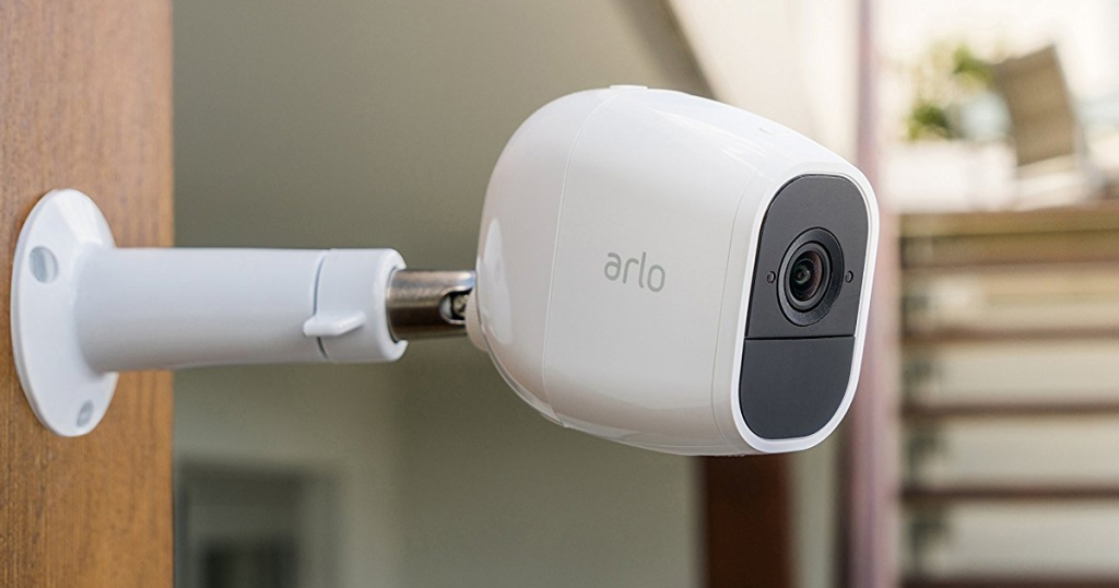 Arlo security camera on wall in house