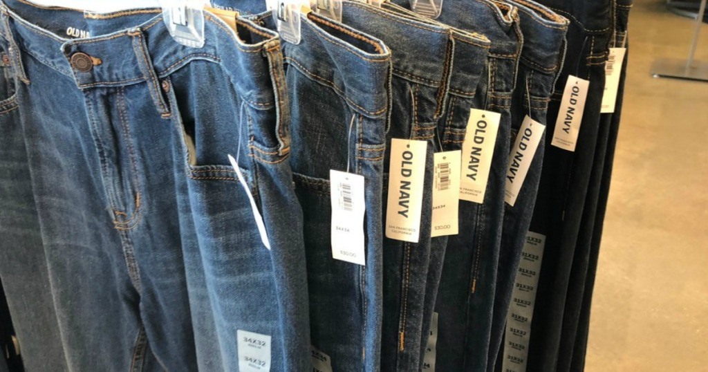 old navy jeans on hanger
