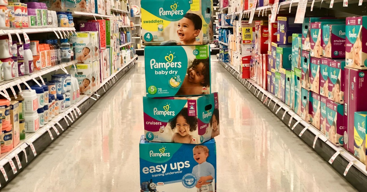 tower of pampers in aisle