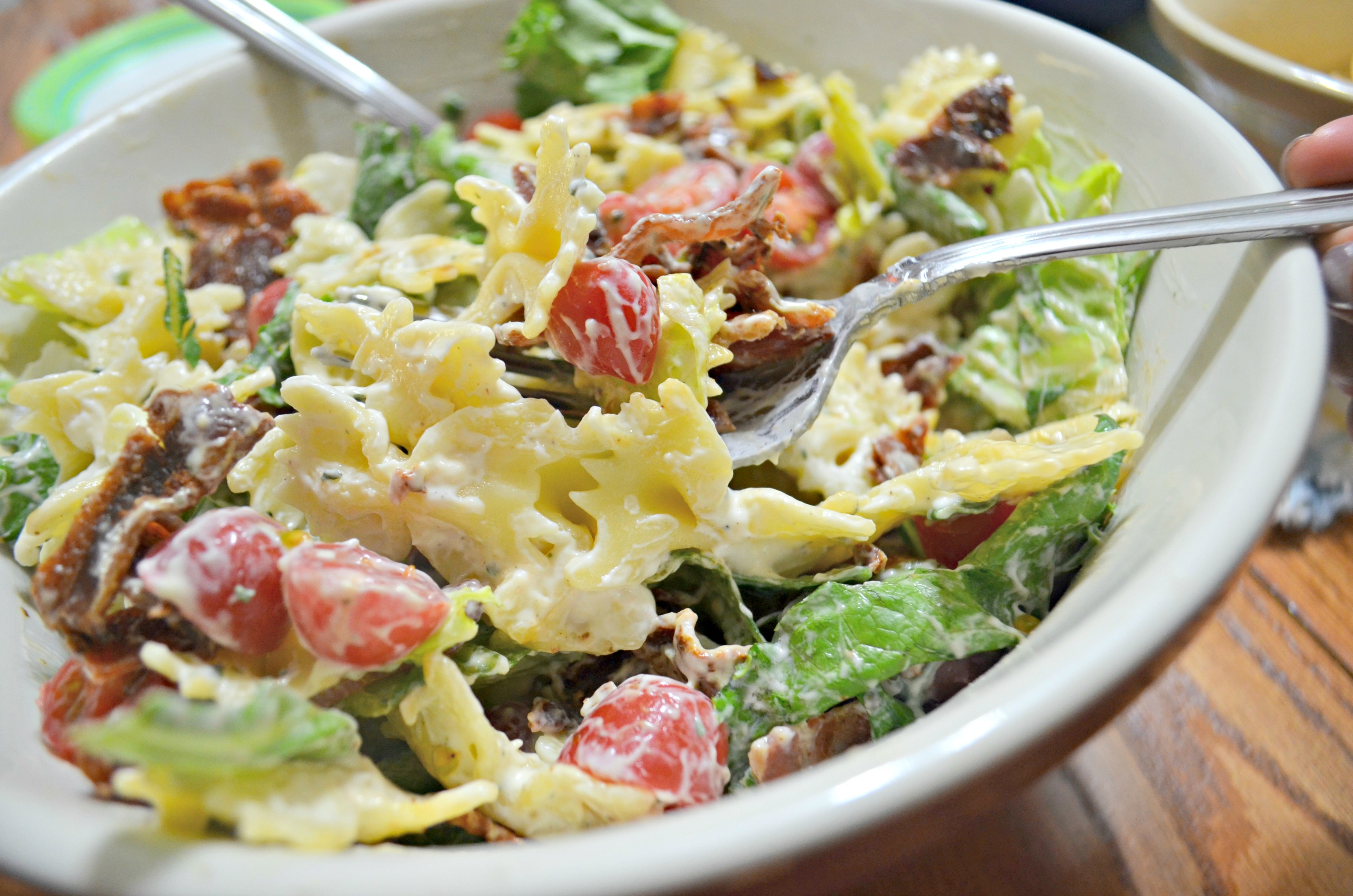 Easy Ranch BLT Pasta Salad - in a bowl