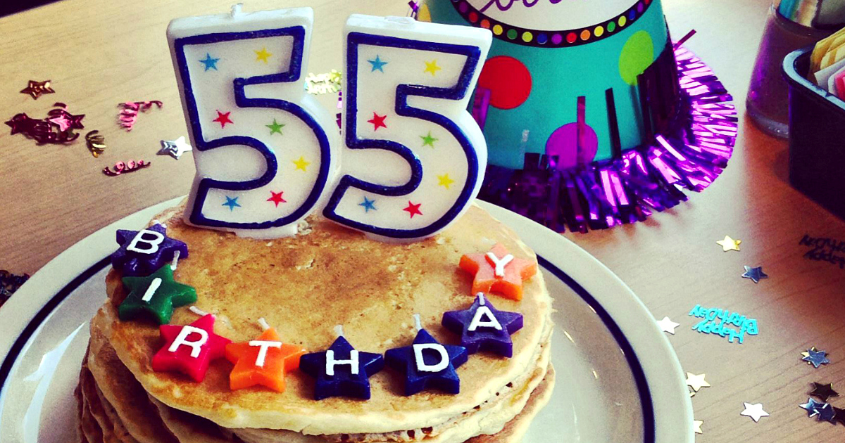 Stores, restaurants, hotels, and other places that offer senior discounts – Birthday pancakes with candles