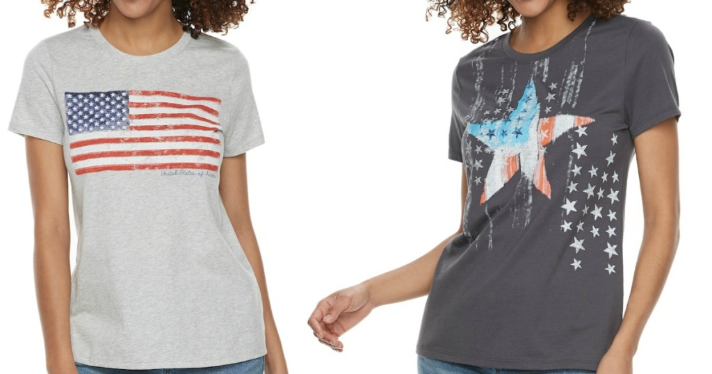 66c86e6b Hop on over to Kohl's.com where select Women's Sonoma Patriotic V-Neck Tees  and/or Crew Neck Tees are on clearance for just $4 (regularly $10).