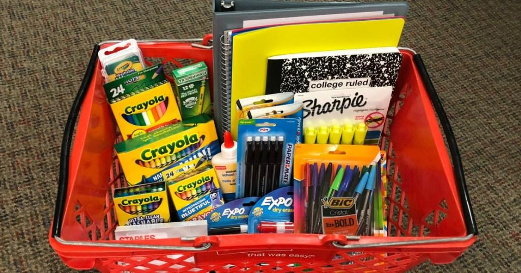 Staples school supplies in basket