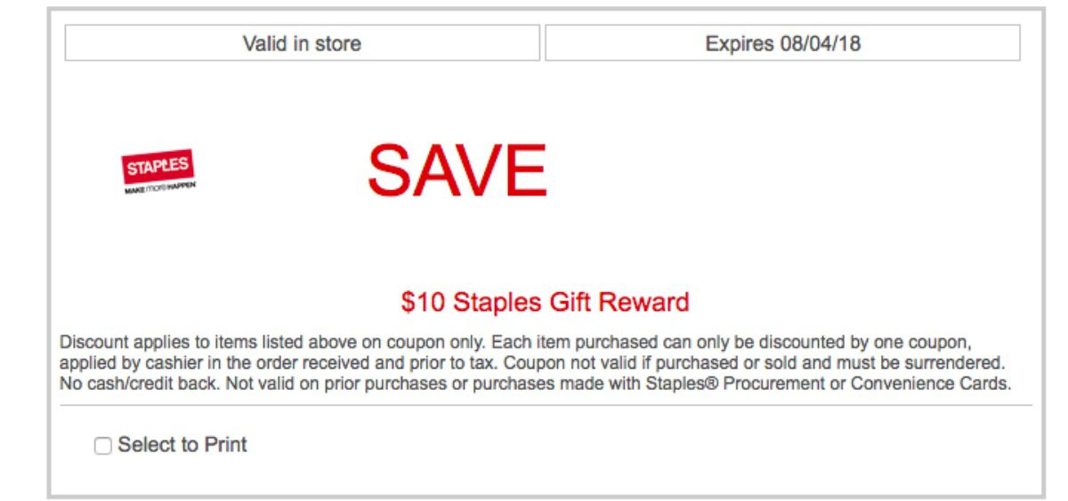 photograph regarding Staple Printable Coupons referred to as Likely $10 Off $10 Staples Invest in Coupon Extra For