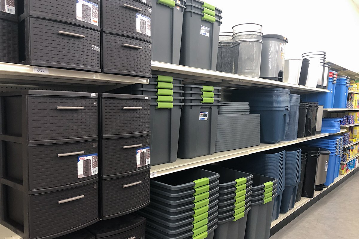 back-to-school college dorm shopping with big lots — large plastic storage and moving bins