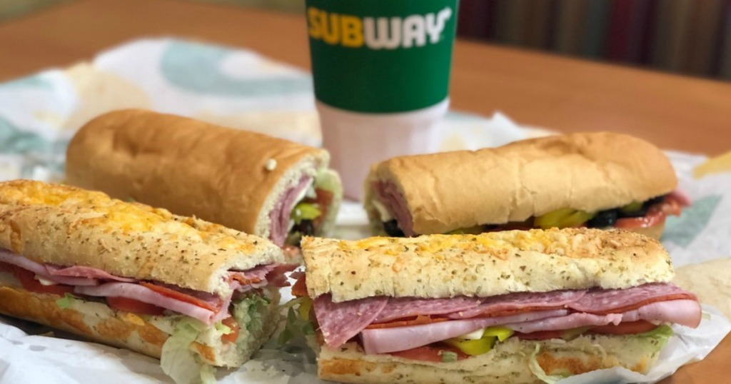 subway footlong subs and drink in store
