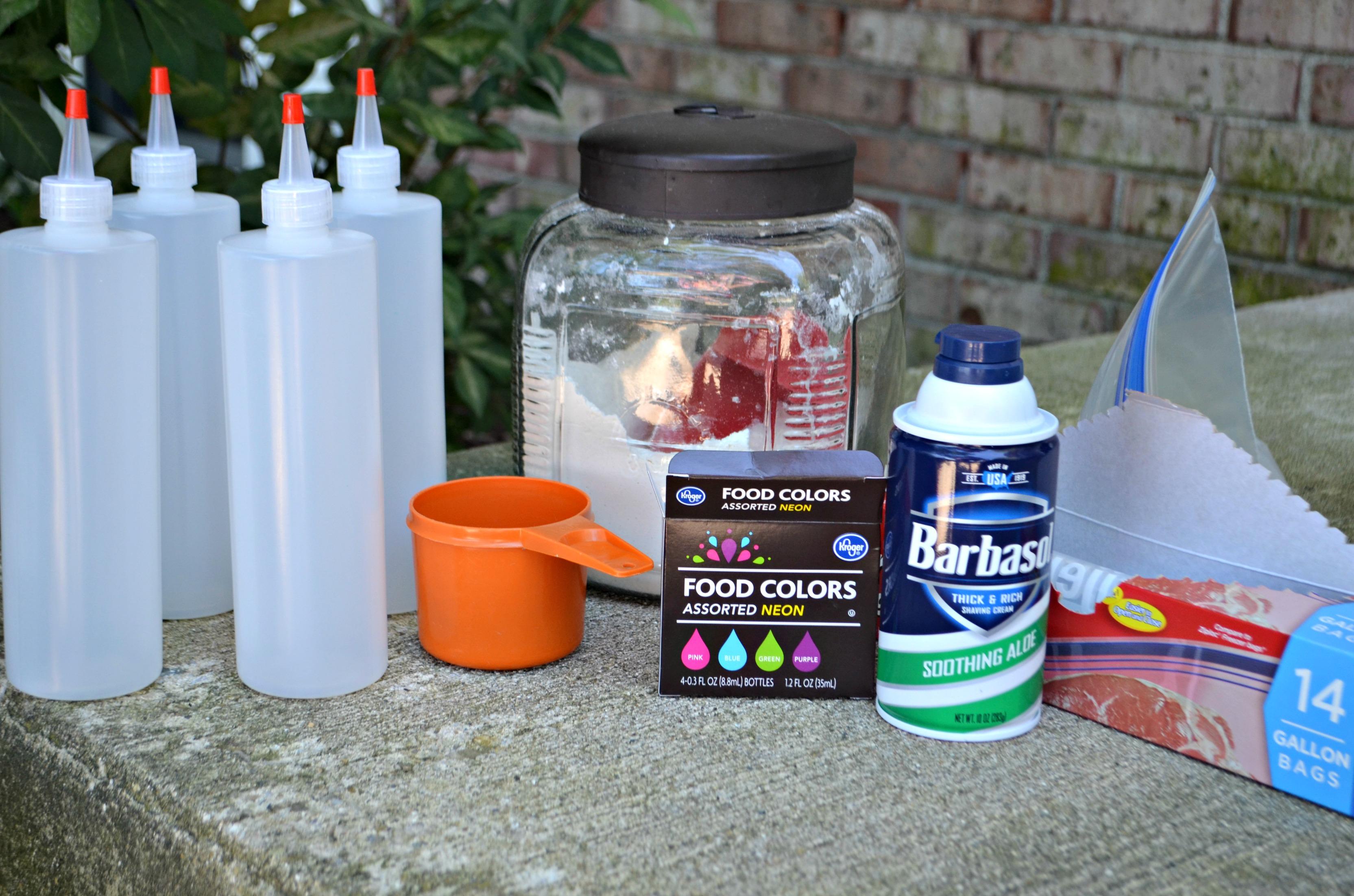 3 Ingredient DIY Puffy Sidewalk Paint - the 'ingredients' on a table