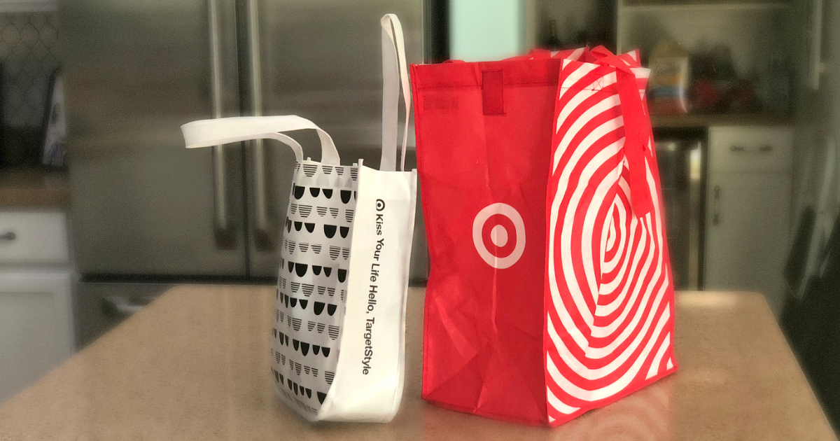 Get a free Target Baby Bag with a baby registry – the bag on the kitchen counter