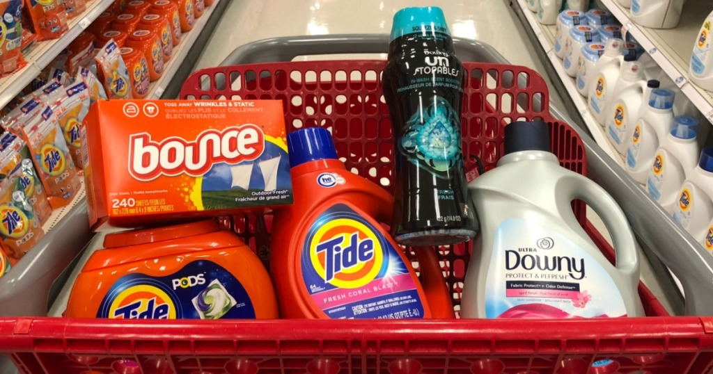 laundry care items in a Target cart