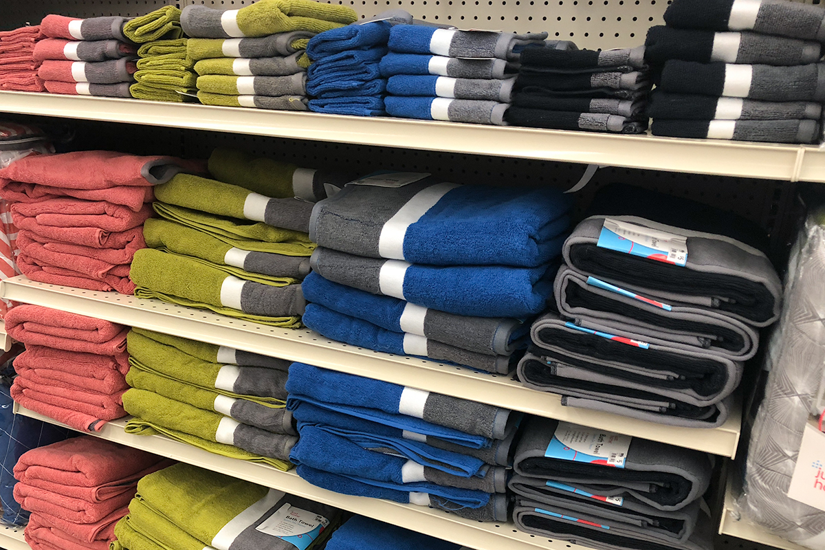 back-to-school college dorm shopping with big lots — bath towels