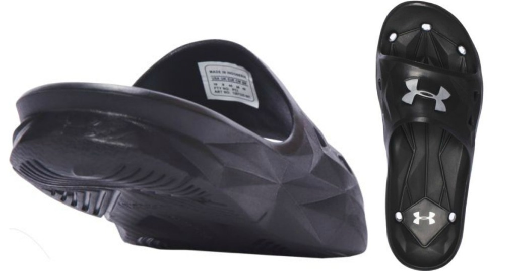 Rear view and top view of rugged Black Under Armour slides