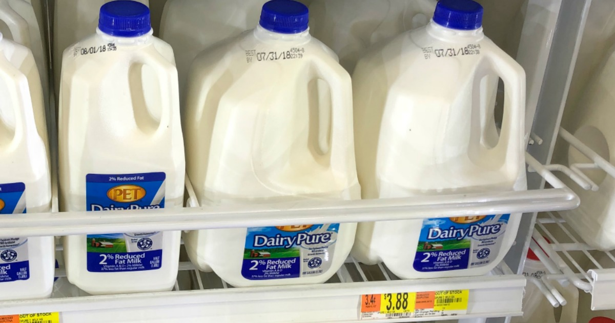 Walmart Dairy Pure milk in the refrigerator