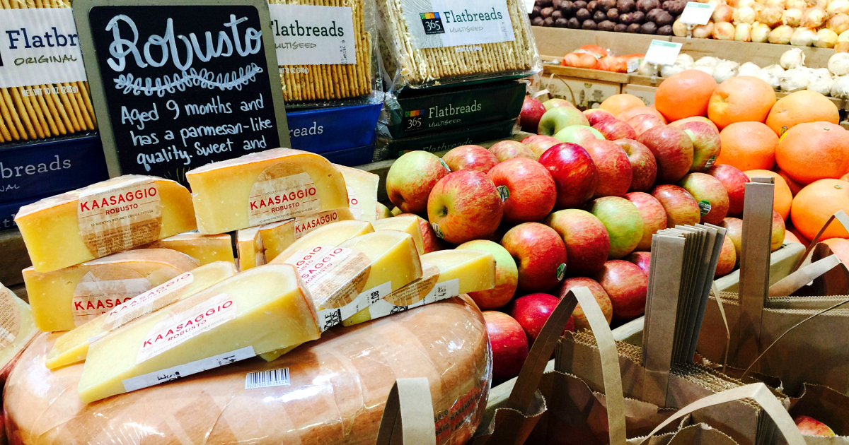 money-saving hacks at Whole Foods Market – fruits and cheeses