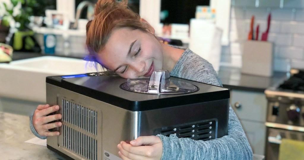 girl hugging whynter ice cream maker