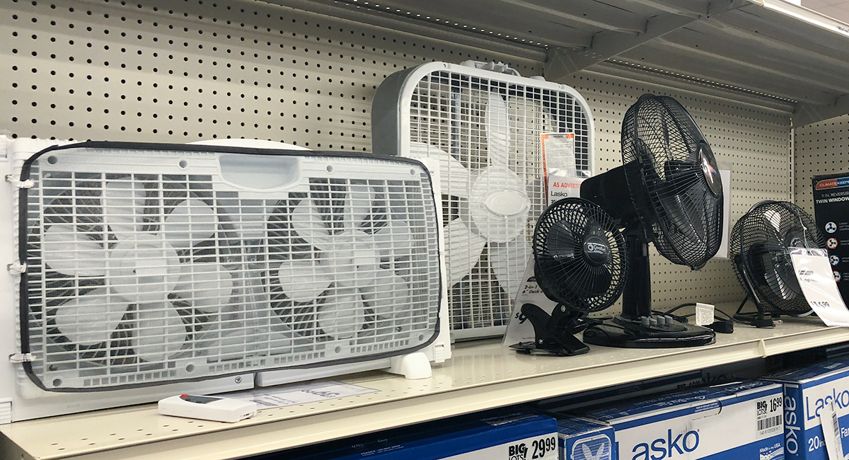 back-to-school college dorm shopping with big lots — assortment of window and desk fans