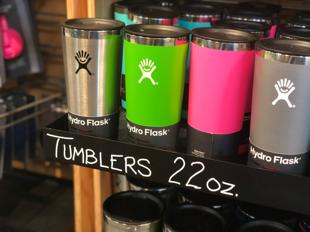 Hydro Flask 22 oz tumblers lined up on retail shelf