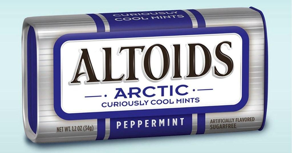 Altoids arctic mints with blue background