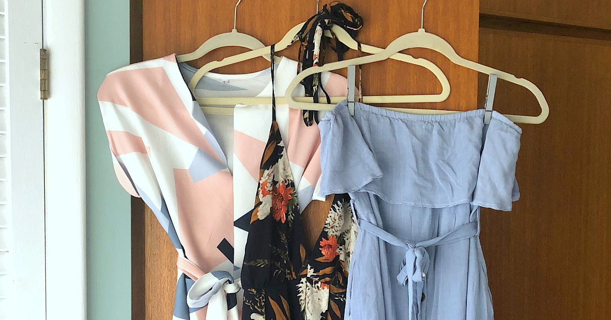 Shopping for clothing? Check out this amazon hack – dresses from amazon hanging up in front of closet