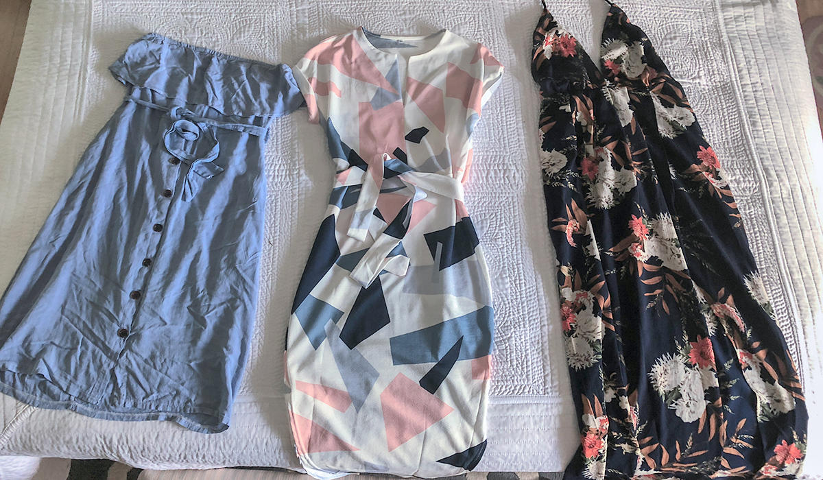 Shopping for clothing? Check out this amazon hack – amazon dresses laid out on bed