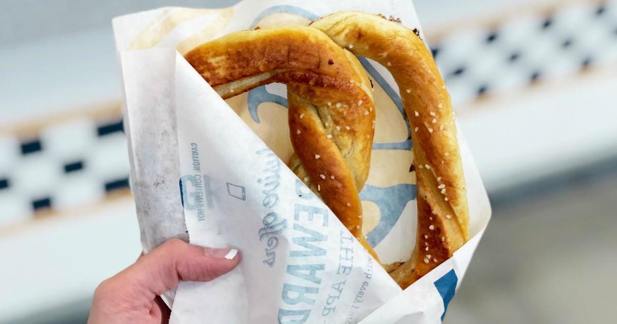 Get a FREE Auntie Anne's birthday pretzel - picture of someone holding a pretzel