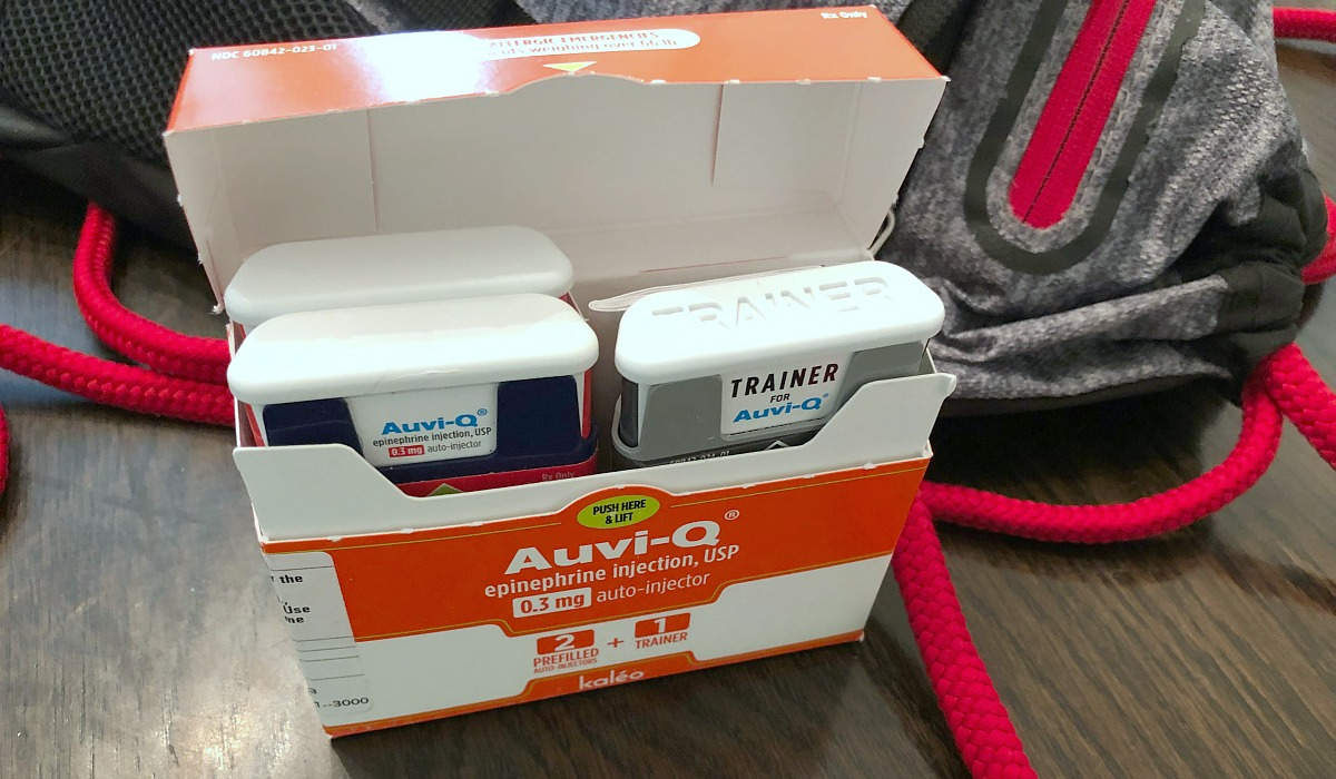 Have allergies? Get free EpiPens – Pictured, an auvi-q package open showing injections and trainer