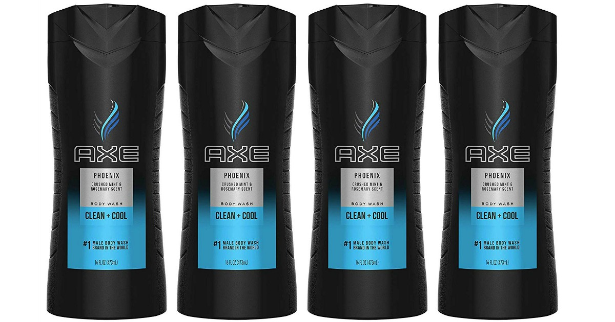 four bottles of AXE Phoenix Body Wash lined up next to each other