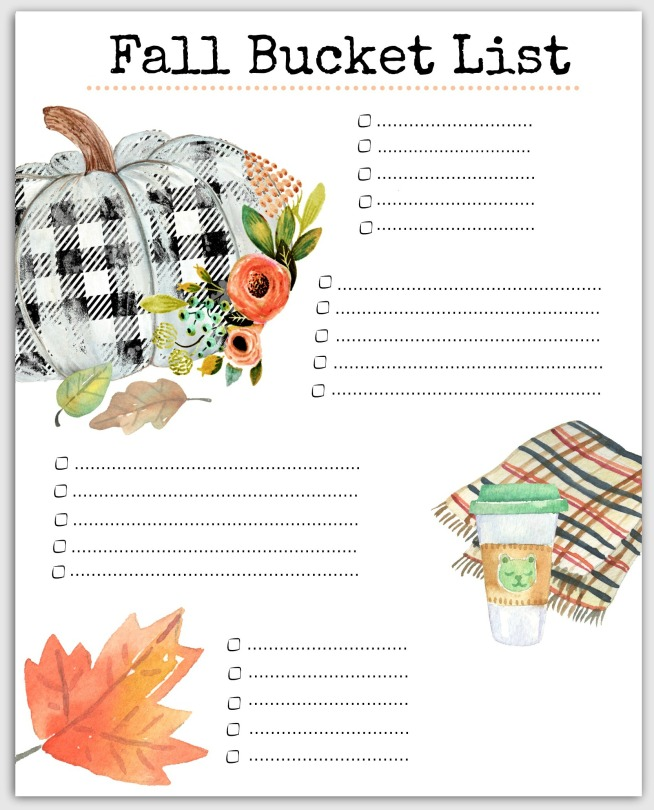 Our blank version of our Free Printable Fall Bucket List ready for ideas