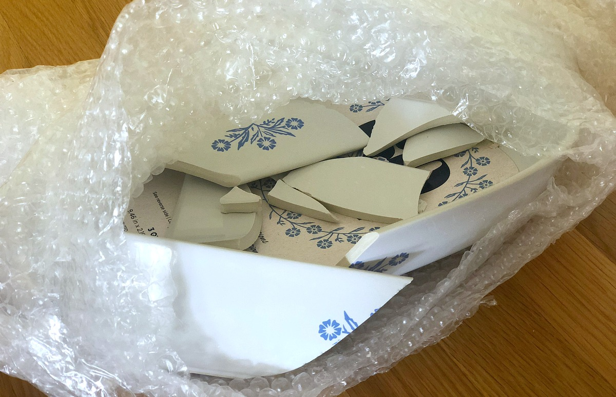 collin's deals and finds this week — broken corningware dish still in bubble wrap