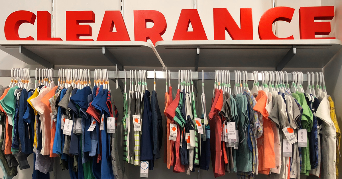 clearance rack of kids clothes