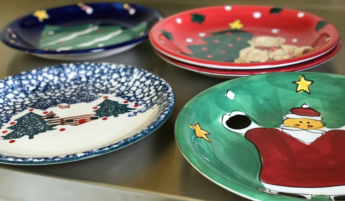 How moving made us feel grateful while having less – assortment of christmas themed dinner plates