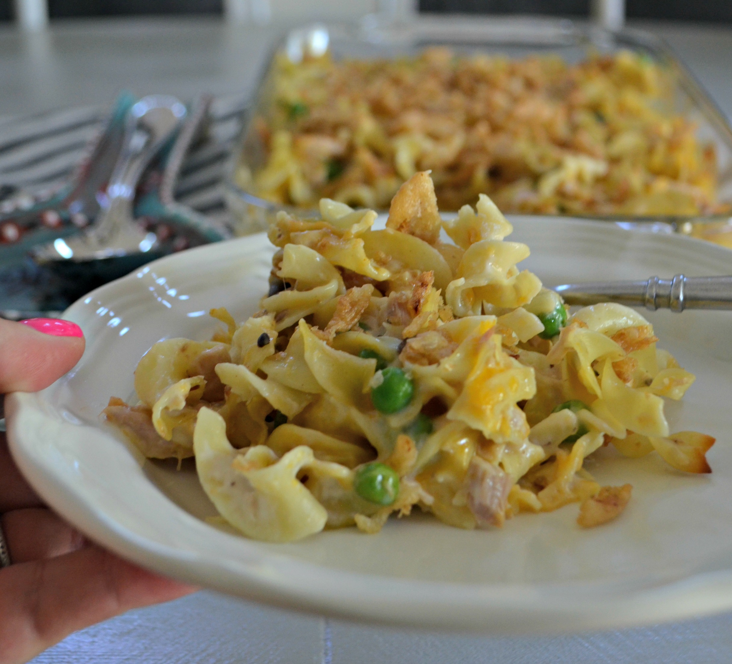 tuna noodle casserole is one of our favorite childhood recipes – The cooked casserole on a plate