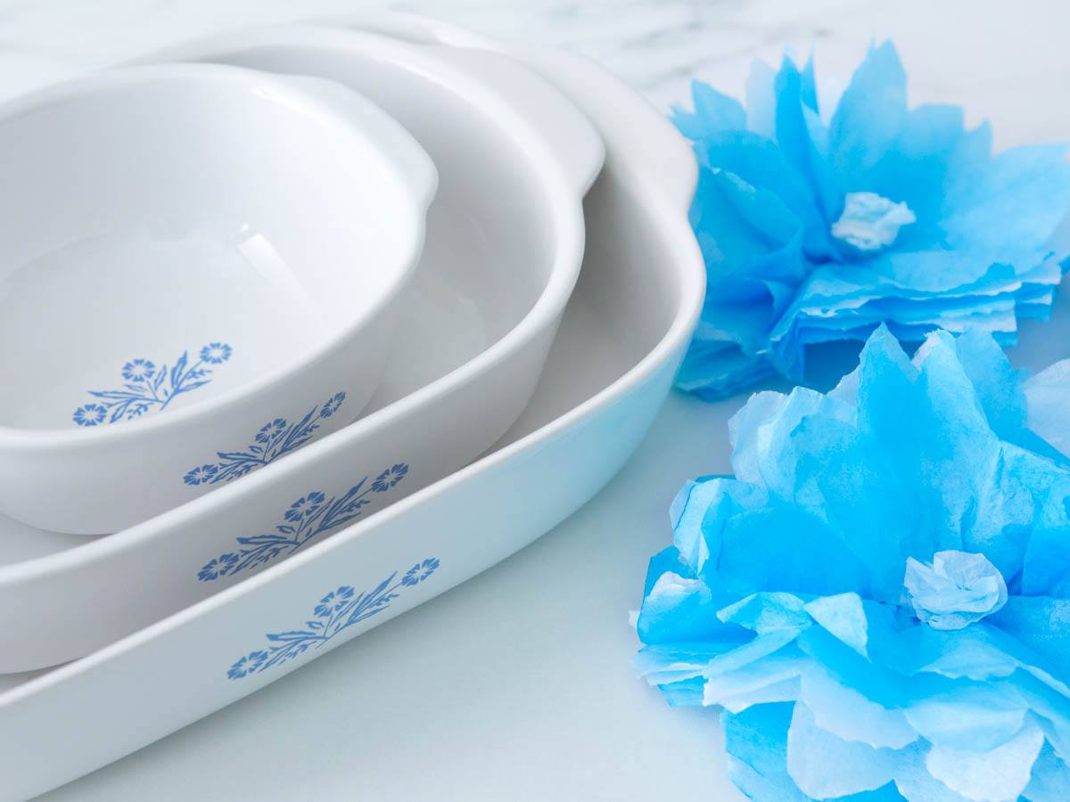 We know where to find the new blue & white cornflower corningware – the cookware stacked