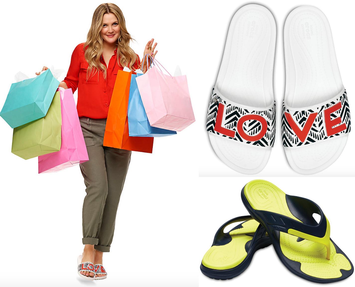 crocs brand deals – Drew Barrymore wearing crocs