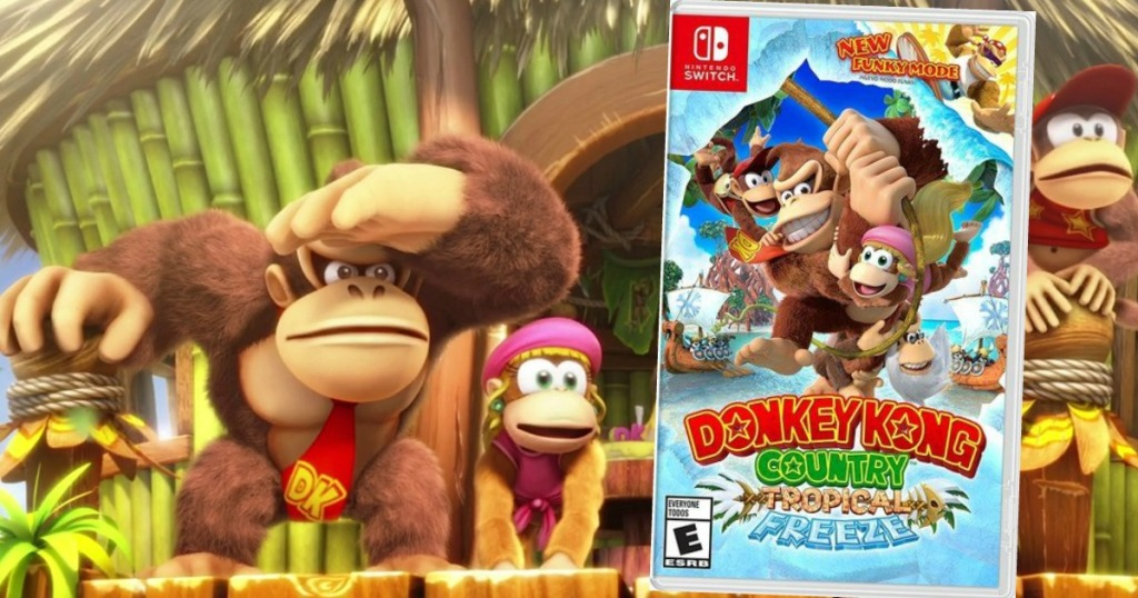 Donkey Kong still shot with picture of the Nintendo Switch game overlaid on top