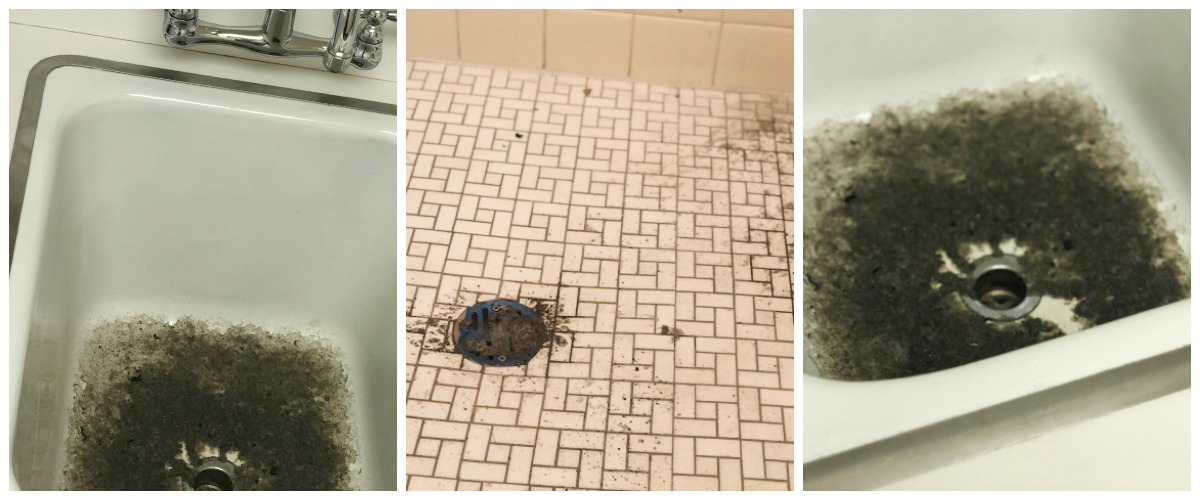 don't flush flushable wipes down into the plumbing – sink and shower with backup in plumbing