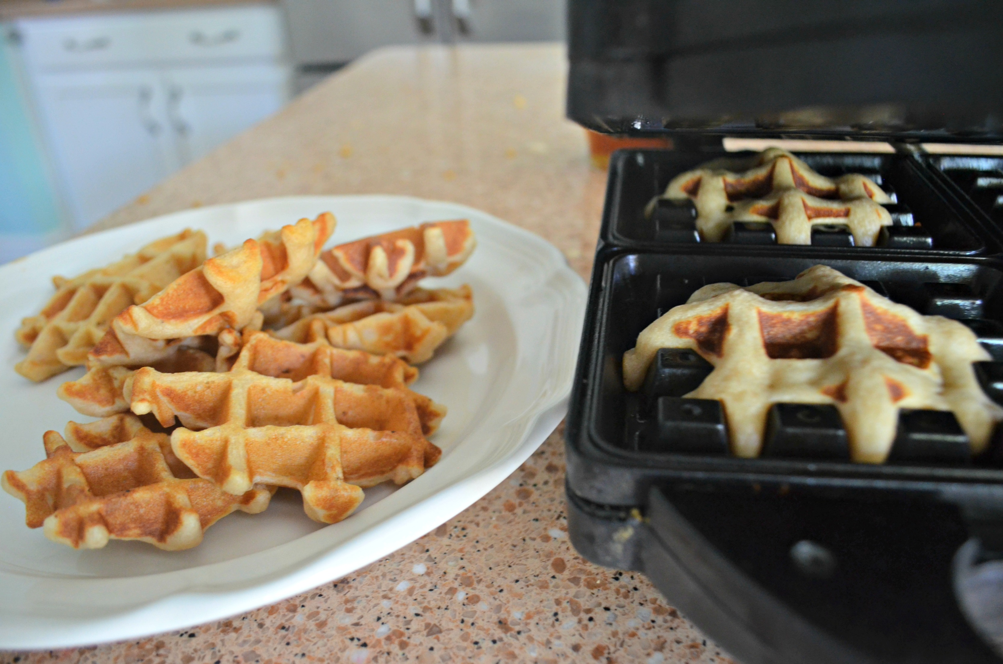 Easy Cornflake Chicken and Mini Waffles - making the mini waffles
