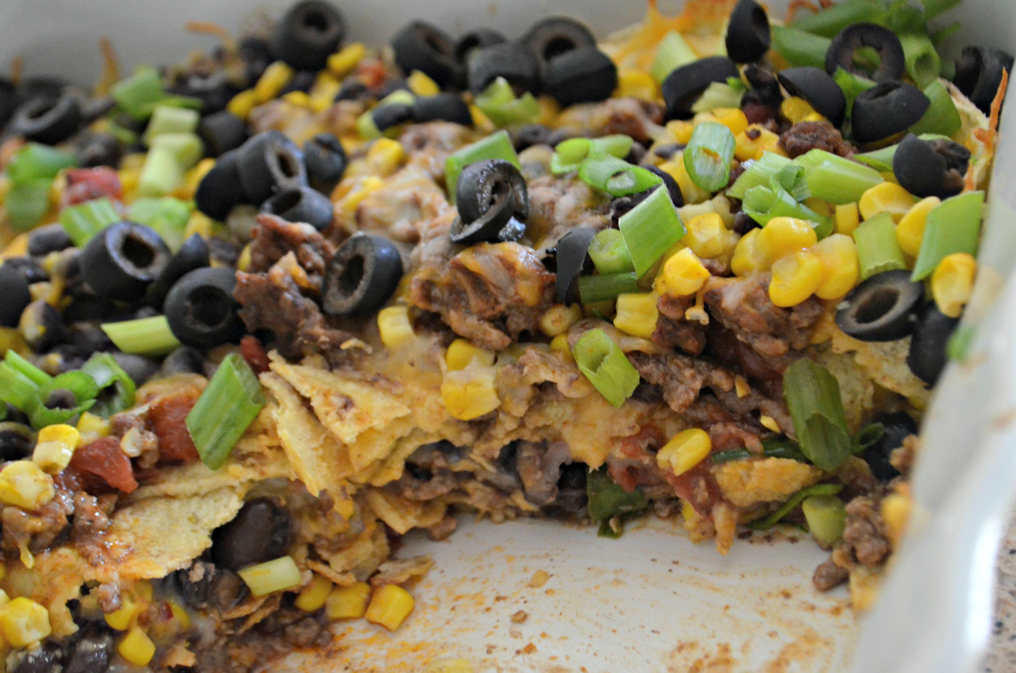 Easy Mexican Lasagna - in the pan