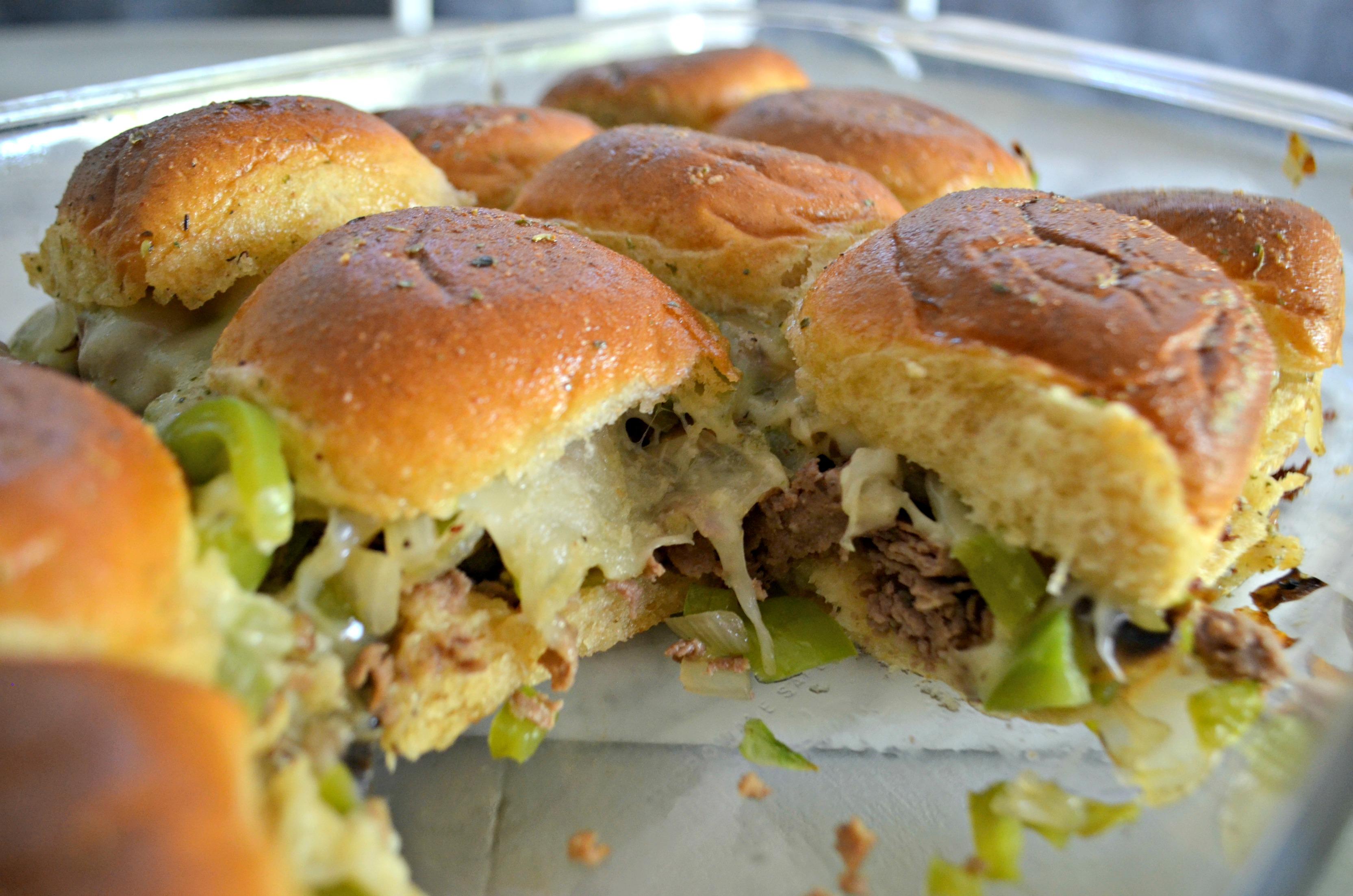 Philly Cheesesteak Sliders - sliders in the baking pan