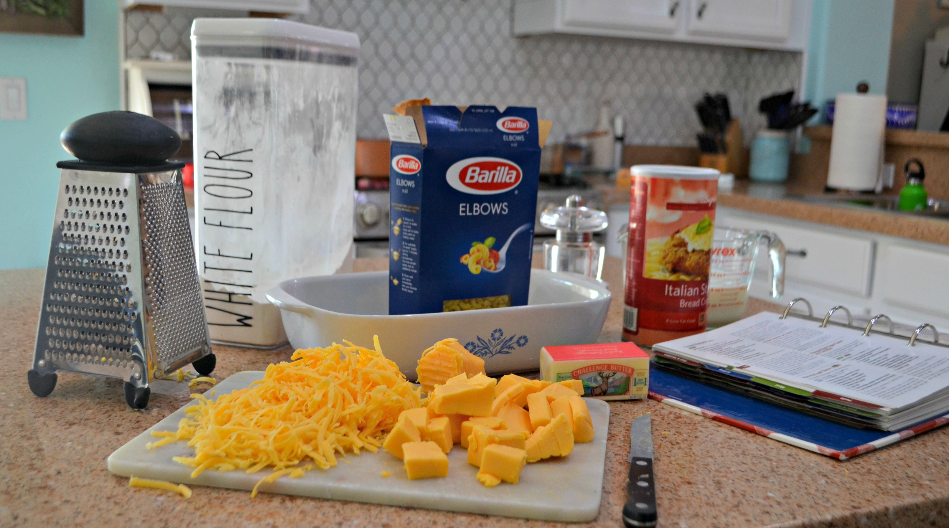 Classic Mac and Cheese just like my mom made! – Ingredients on the counter